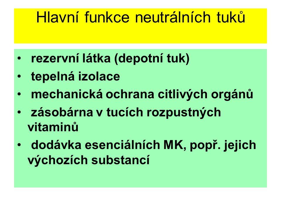 Neutrální tuky (Triglyceridy) Definice: Ester trojsytného alkoholu glycerolu s mastnými kyselinami, přitom v neutrálních tucích, nacházejících se v ro