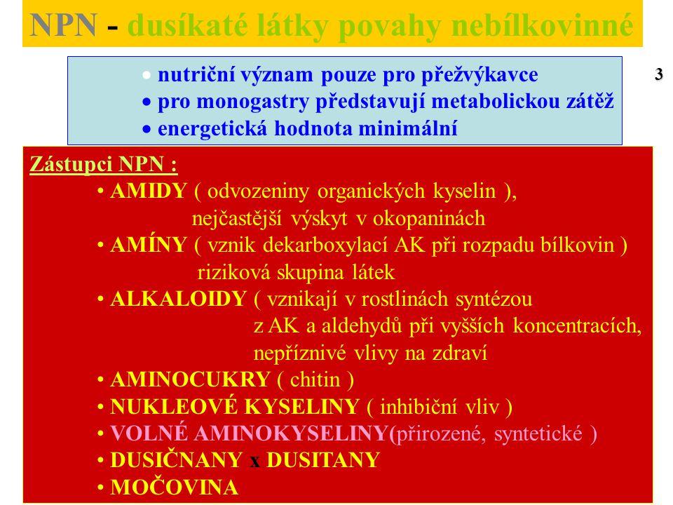 AMINOKYSELINY V Neesenciální - postradatelné ( organismus je syntetizuje ) Limitující ( nejčastěji se vyskytující v nedostatku ) Nejčastěji limitující