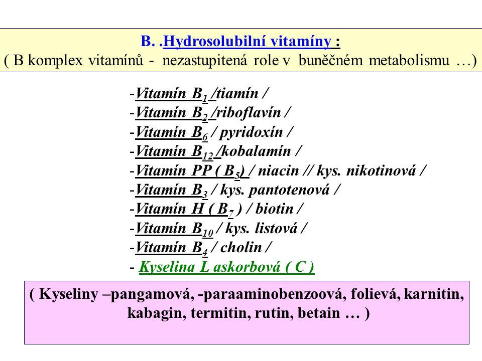 A. Liposolubilní vitamíny ( pokračování ) -K vitamín / antihemoragický / ovlivňuje – syntézu bílkovin, srážlivost … výskyt – luštěniny,zelená píce,mrk