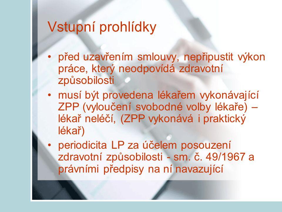 Druhy lékařských prohlídek Podle § 133 odst.