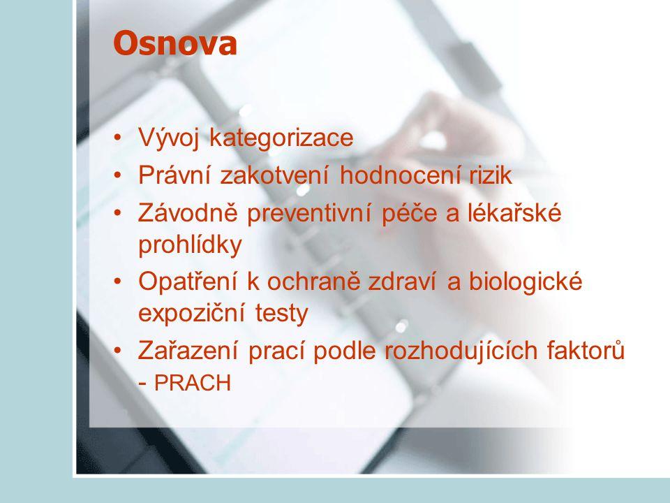 Osnova Vývoj kategorizace Právní zakotvení hodnocení rizik Závodně preventivní péče a lékařské prohlídky Opatření k ochraně zdraví a biologické expoziční testy Zařazení prací podle rozhodujících faktorů - PRACH