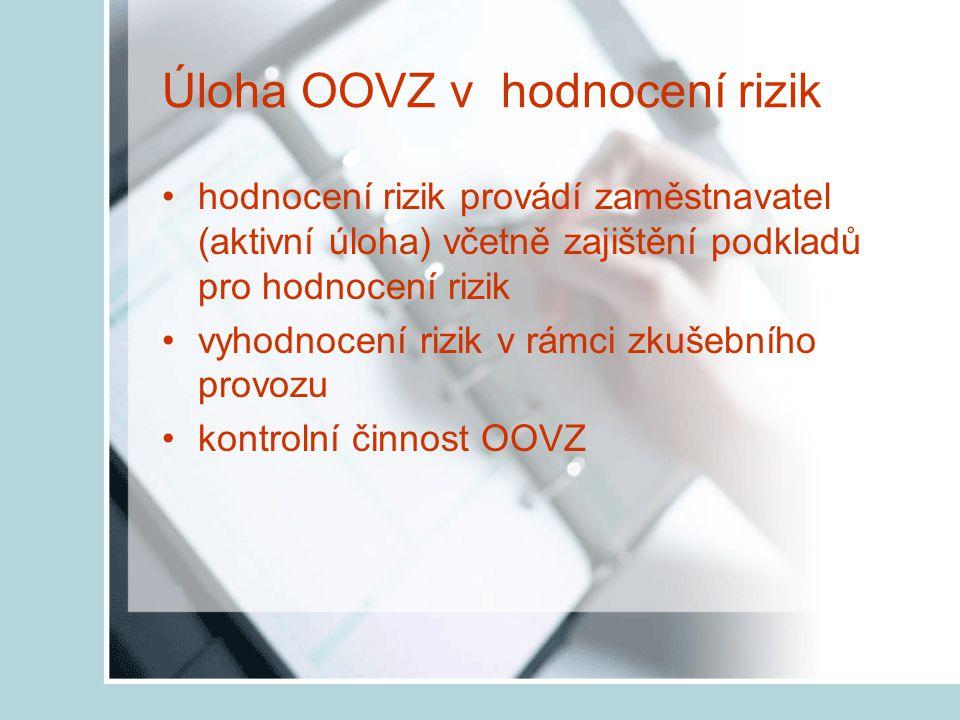 Úloha OOVZ v hodnocení rizik hodnocení rizik provádí zaměstnavatel (aktivní úloha) včetně zajištění podkladů pro hodnocení rizik vyhodnocení rizik v rámci zkušebního provozu kontrolní činnost OOVZ