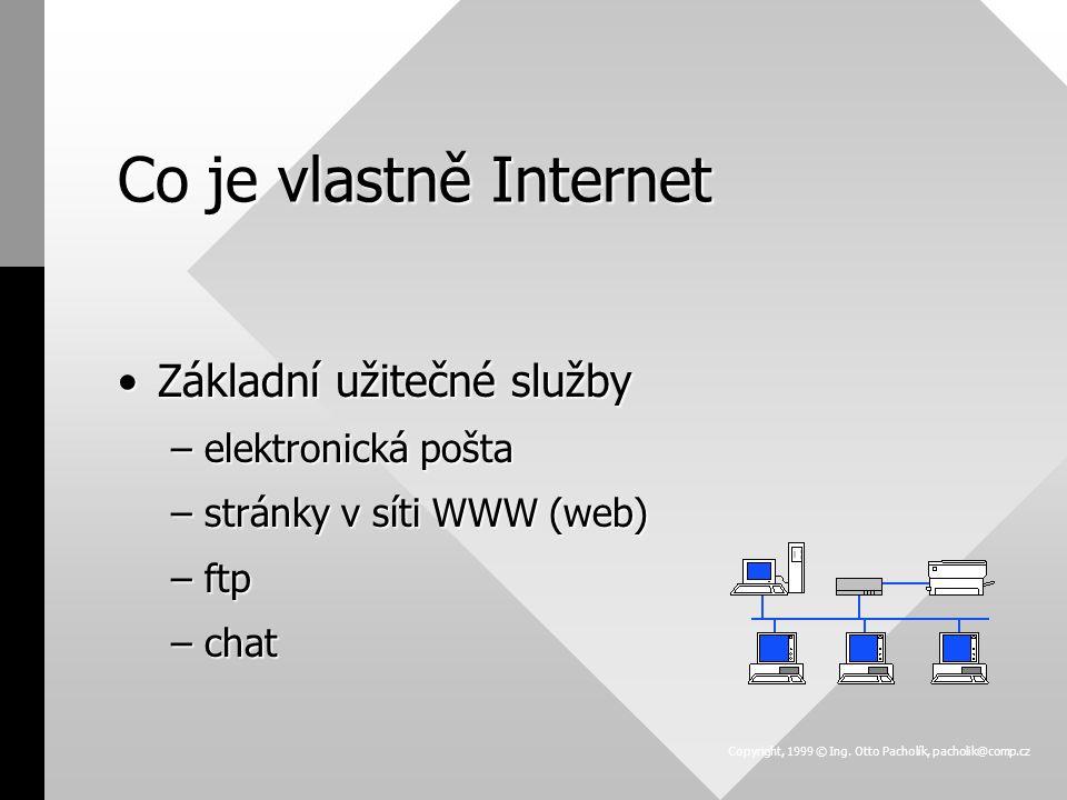 Co je vlastně Internet Základní užitečné službyZákladní užitečné služby –elektronická pošta –stránky v síti WWW (web) –ftp –chat Copyright, 1999 © Ing.