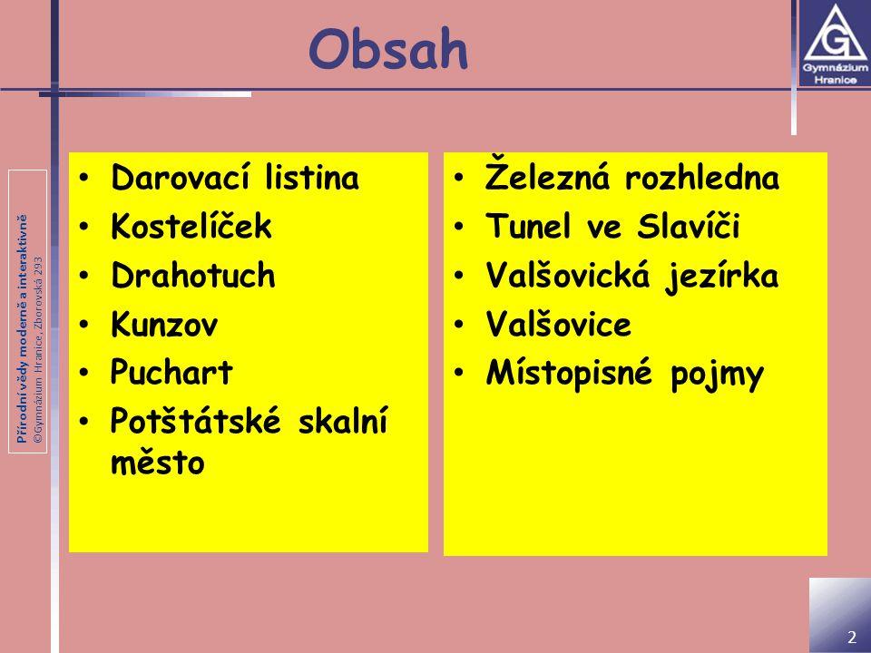 Přírodní vědy moderně a interaktivně ©Gymnázium Hranice, Zborovská 293 Darovací listina Ve jménu svaté a nerozdílné trojice.