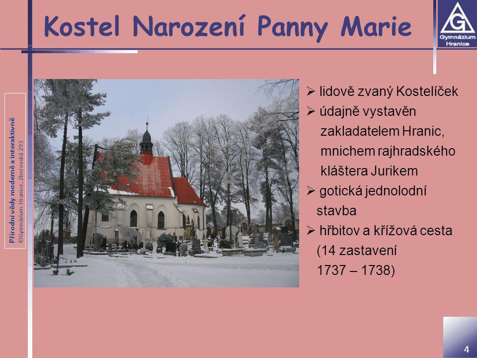 Přírodní vědy moderně a interaktivně ©Gymnázium Hranice, Zborovská 293 Drahotuch  postaven ve 2.