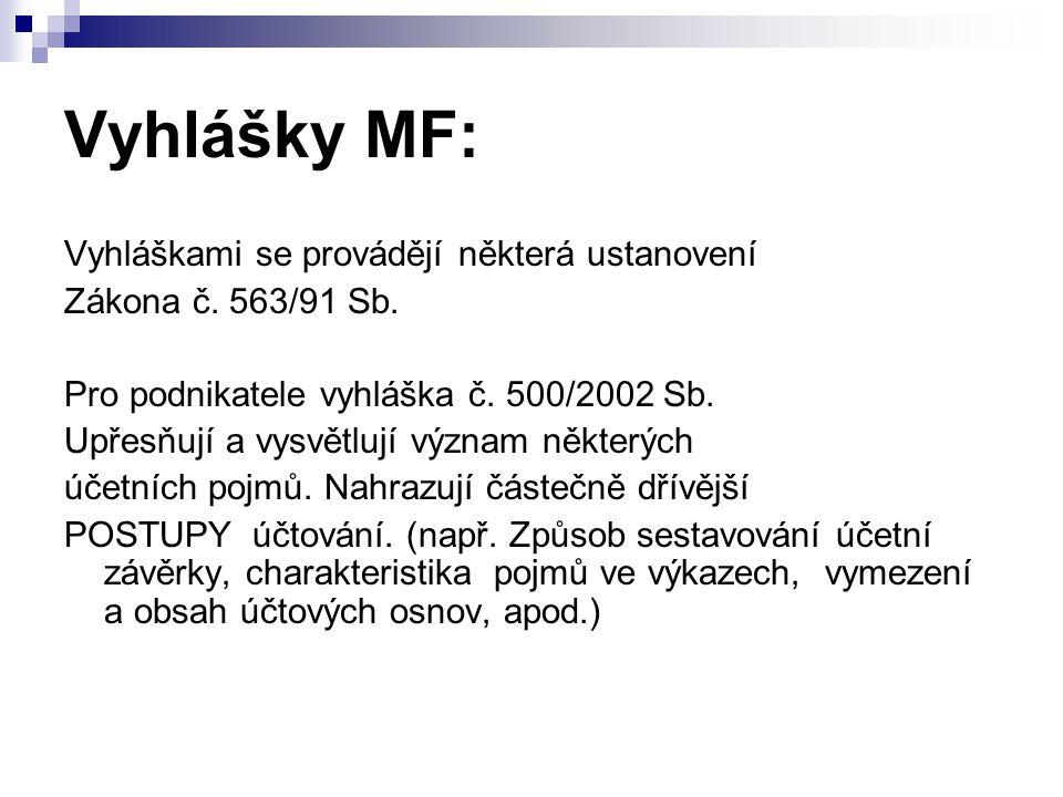Vyhlášky MF: Vyhláškami se provádějí některá ustanovení Zákona č.