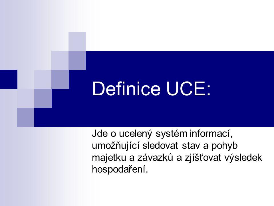 Definice UCE: Jde o ucelený systém informací, umožňující sledovat stav a pohyb majetku a závazků a zjišťovat výsledek hospodaření.