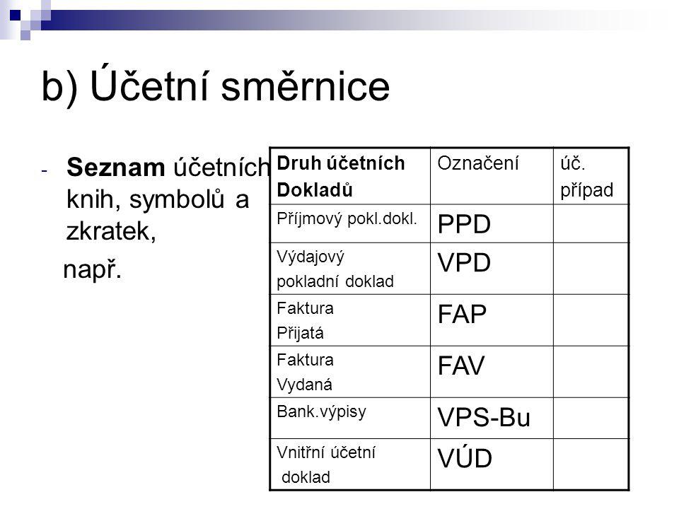 b) Účetní směrnice - Seznam účetních knih, symbolů a zkratek, např. Druh účetních Dokladů Označeníúč. případ Příjmový pokl.dokl. PPD Výdajový pokladní