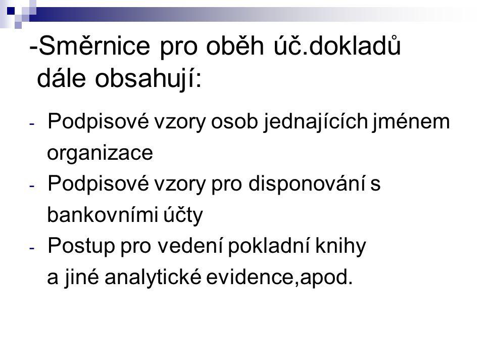 -Směrnice pro oběh úč.dokladů dále obsahují: - Podpisové vzory osob jednajících jménem organizace - Podpisové vzory pro disponování s bankovními účty - Postup pro vedení pokladní knihy a jiné analytické evidence,apod.