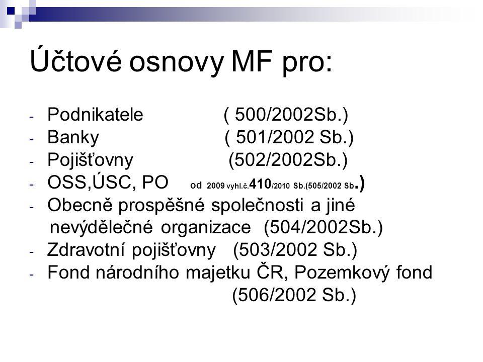 Účtové osnovy MF pro: - Podnikatele ( 500/2002Sb.) - Banky ( 501/2002 Sb.) - Pojišťovny (502/2002Sb.) - OSS,ÚSC, PO od 2009 vyhl.č. 410 /2010 Sb.(505/