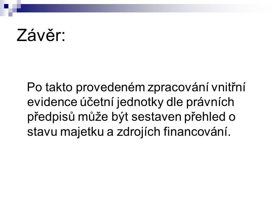 Závěr: Po takto provedeném zpracování vnitřní evidence účetní jednotky dle právních předpisů může být sestaven přehled o stavu majetku a zdrojích financování.