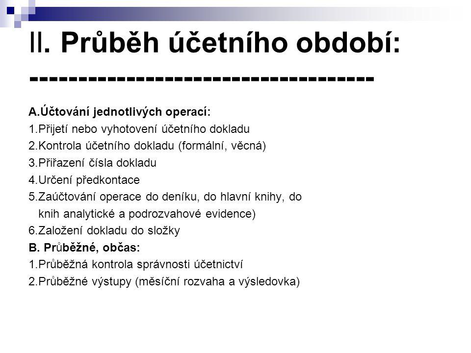 II. Průběh účetního období: ------------------------------------ A.Účtování jednotlivých operací: 1.Přijetí nebo vyhotovení účetního dokladu 2.Kontrol