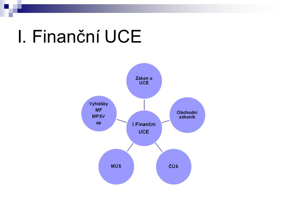 I. Finanční UCE I.Finanční UCE Zákon o UCE Obchodní zákoník ČÚSMÚS Vyhlášky MF MPSV ap