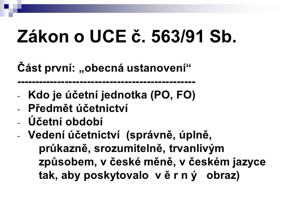 """Zákon o UCE č. 563/91 Sb. Část první: """"obecná ustanovení"""" ------------------------------------------------ - Kdo je účetní jednotka (PO, FO) - Předmět"""