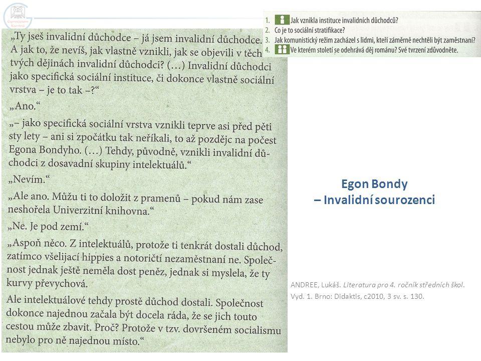 ANDREE, Lukáš. Literatura pro 4. ročník středních škol. Vyd. 1. Brno: Didaktis, c2010, 3 sv. s. 130. Egon Bondy – Invalidní sourozenci