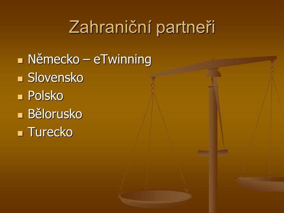 Zahraniční partneři Německo – eTwinning Německo – eTwinning Slovensko Slovensko Polsko Polsko Bělorusko Bělorusko Turecko Turecko