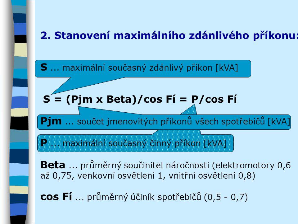 2. Stanovení maximálního zdánlivého příkonu: S... maximální současný zdánlivý příkon [kVA] S = (Pjm x Beta)/cos Fí = P/cos Fí Pjm... součet jmenovitýc
