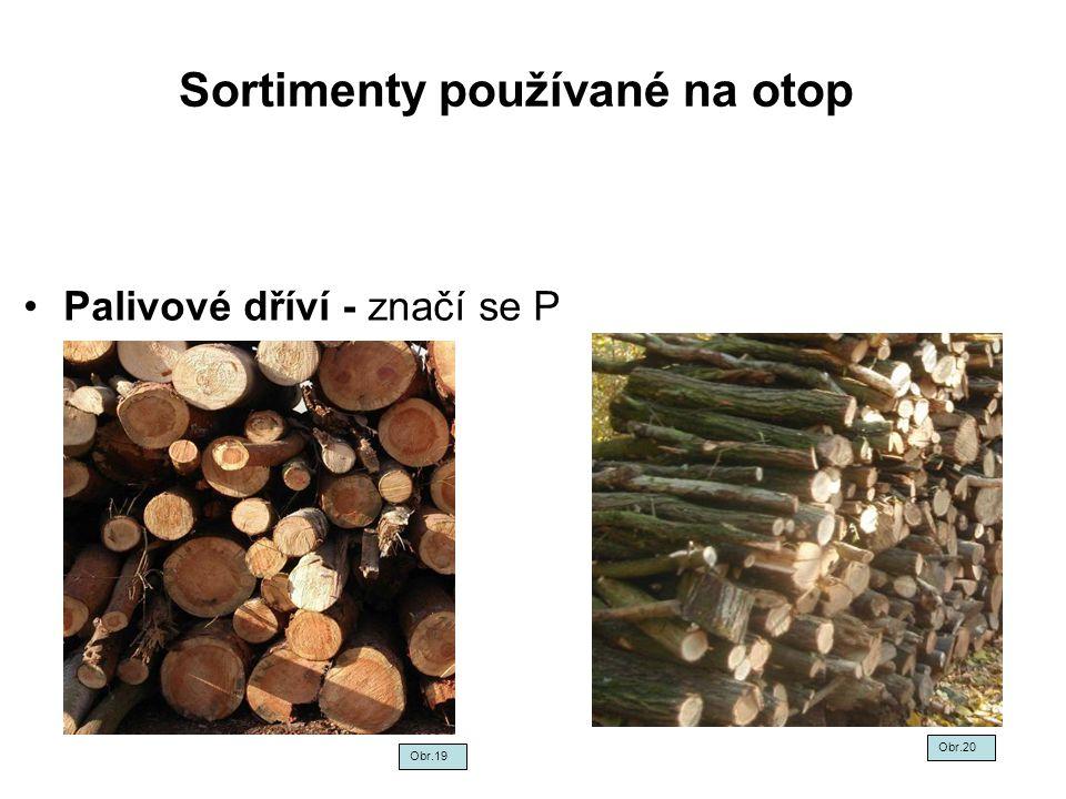 Sortimenty používané na otop Palivové dříví - značí se P Obr.19 Obr.20
