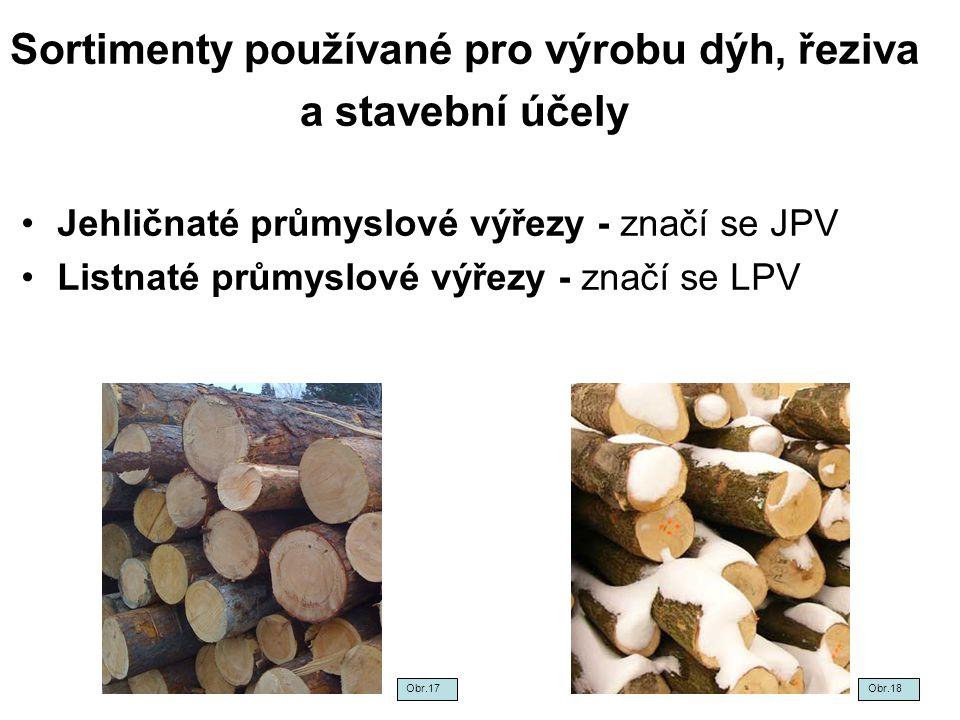 Sortimenty používané pro výrobu dýh, řeziva a stavební účely Jehličnaté průmyslové výřezy - značí se JPV Listnaté průmyslové výřezy - značí se LPV Obr