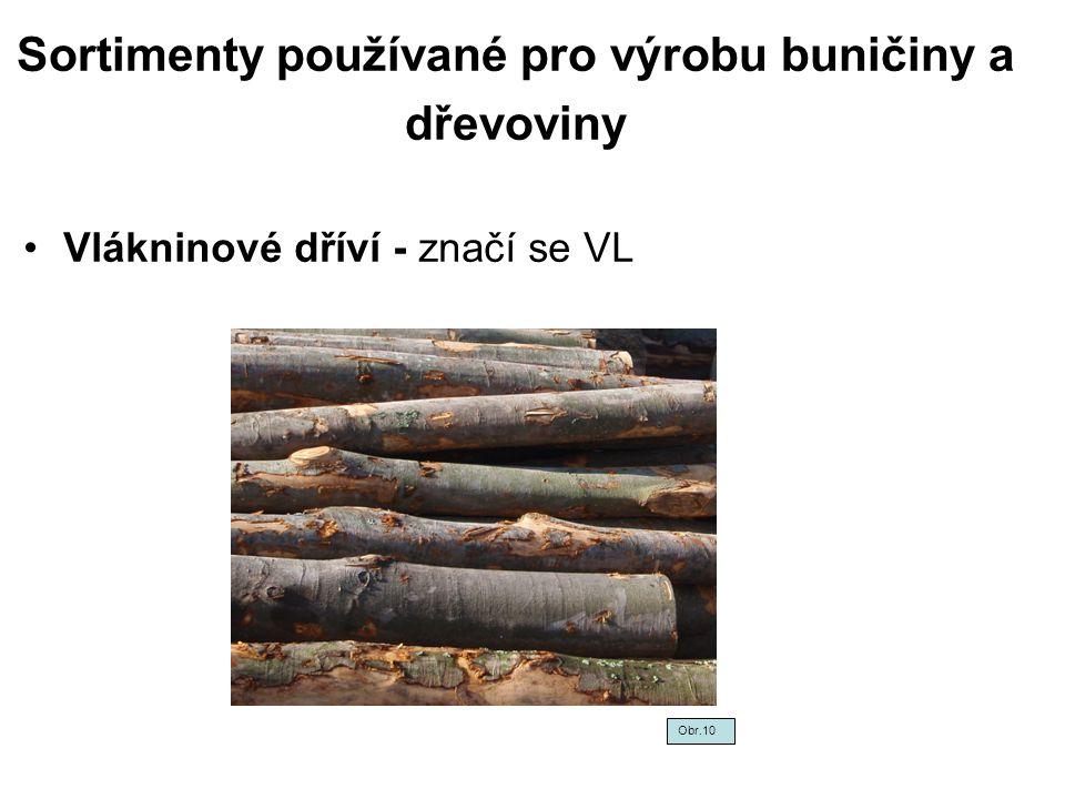 Sortimenty používané pro výrobu buničiny a dřevoviny Vlákninové dříví - značí se VL Obr.10