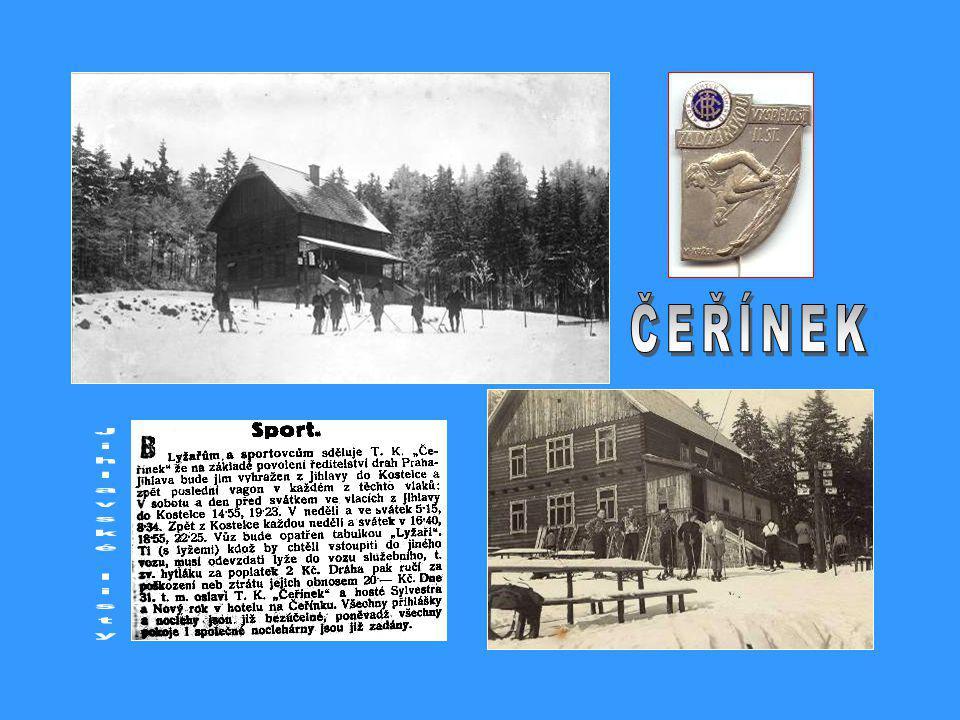 3.8.1930 – z Pelhřimova do Dolní Cerekve vlakem a odtud pěšky za 1¼ h. na Čeřínek – zpět zelená zn. do Kostelce na nádraží 1 h. cesty.