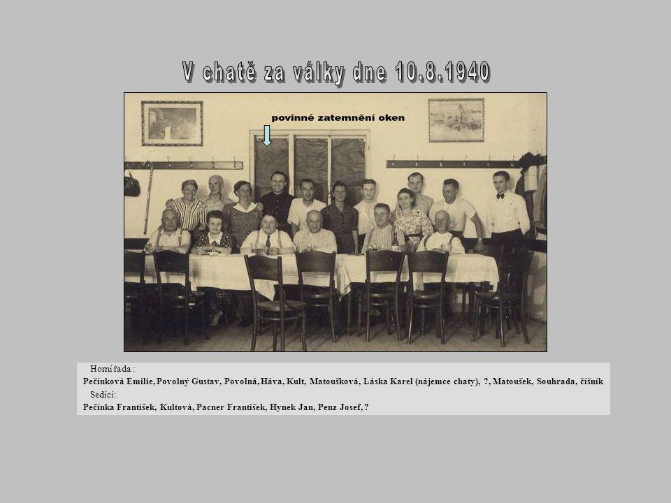 sedící – Nimmrichter, ?, * Zdeněk Pečínka, dole J. Heidr stojící – manž. Heidrovi, Sedláčková, Ema Herzová, Jílková, Katrnožková, nahoře Pečínková, Ni