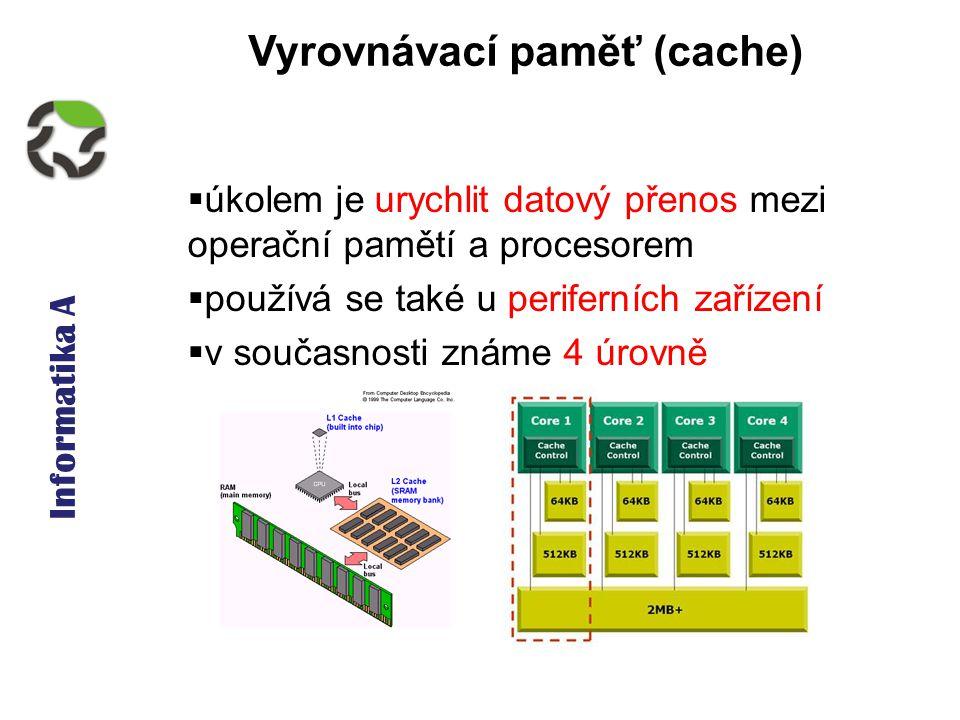 Informatika A Vyrovnávací paměť (cache)  úkolem je urychlit datový přenos mezi operační pamětí a procesorem  používá se také u periferních zařízení  v současnosti známe 4 úrovně