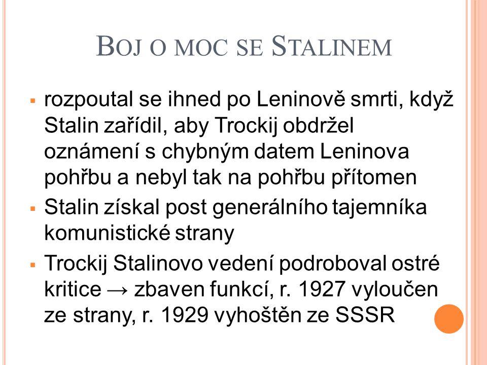 B OJ O MOC SE S TALINEM  rozpoutal se ihned po Leninově smrti, když Stalin zařídil, aby Trockij obdržel oznámení s chybným datem Leninova pohřbu a nebyl tak na pohřbu přítomen  Stalin získal post generálního tajemníka komunistické strany  Trockij Stalinovo vedení podroboval ostré kritice → zbaven funkcí, r.