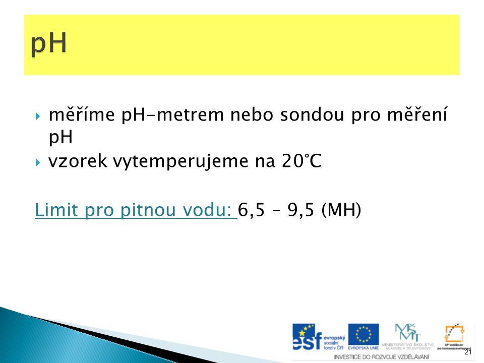  měříme pH-metrem nebo sondou pro měření pH  vzorek vytemperujeme na 20°C Limit pro pitnou vodu: 6,5 – 9,5 (MH) 21