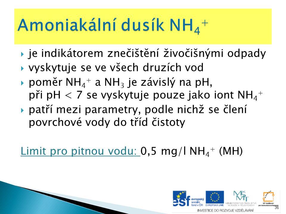  je indikátorem znečištění živočišnými odpady  vyskytuje se ve všech druzích vod  poměr NH 4 + a NH 3 je závislý na pH, při pH < 7 se vyskytuje pou
