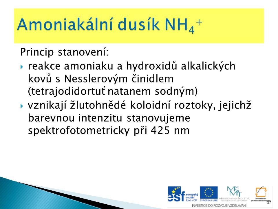 Princip stanovení:  reakce amoniaku a hydroxidů alkalických kovů s Nesslerovým činidlem (tetrajodidortuťnatanem sodným)  vznikají žlutohnědé koloidn