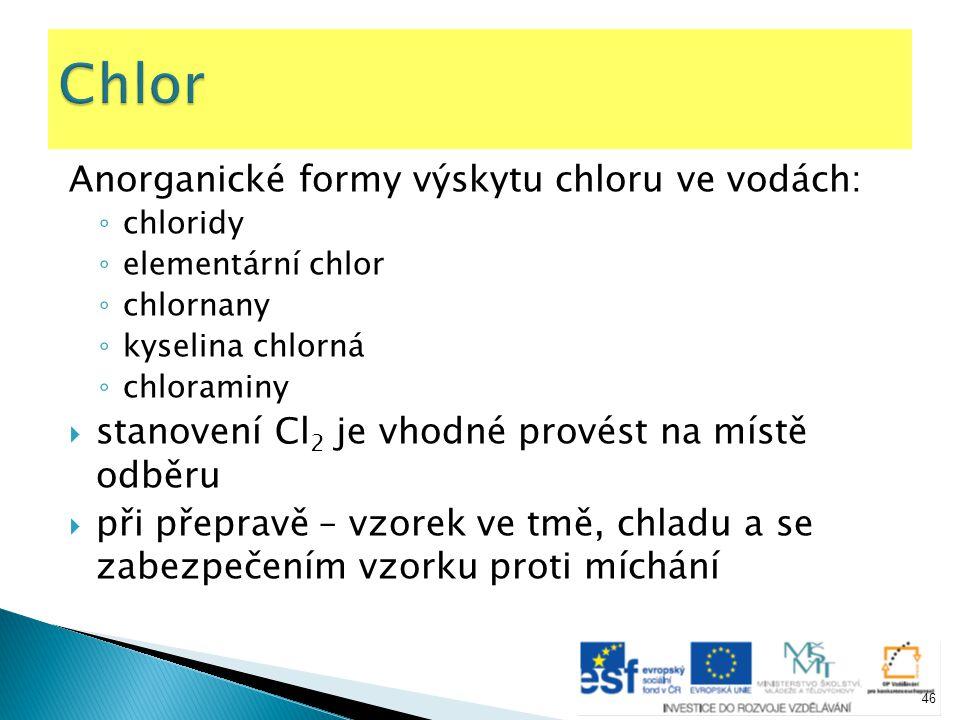 Anorganické formy výskytu chloru ve vodách: ◦ chloridy ◦ elementární chlor ◦ chlornany ◦ kyselina chlorná ◦ chloraminy  stanovení Cl 2 je vhodné prov
