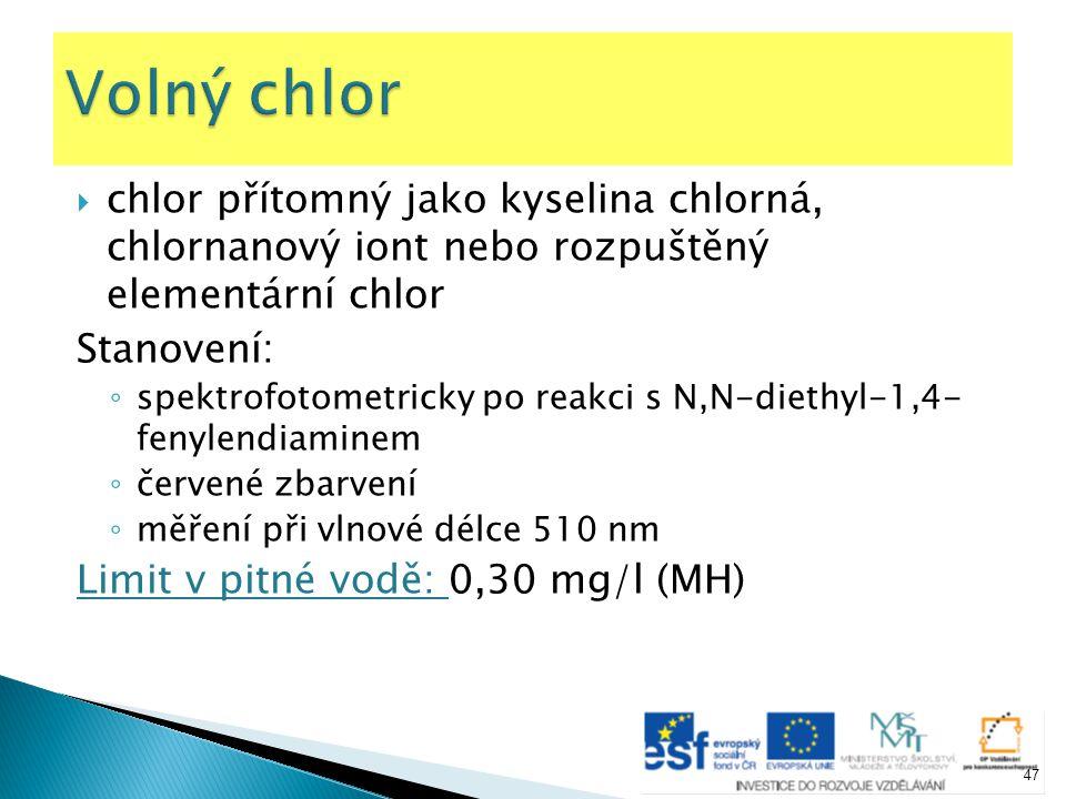  chlor přítomný jako kyselina chlorná, chlornanový iont nebo rozpuštěný elementární chlor Stanovení: ◦ spektrofotometricky po reakci s N,N-diethyl-1,