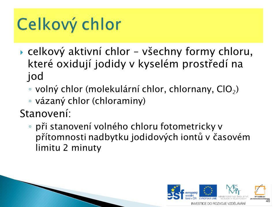  celkový aktivní chlor – všechny formy chloru, které oxidují jodidy v kyselém prostředí na jod ◦ volný chlor (molekulární chlor, chlornany, ClO 2 ) ◦