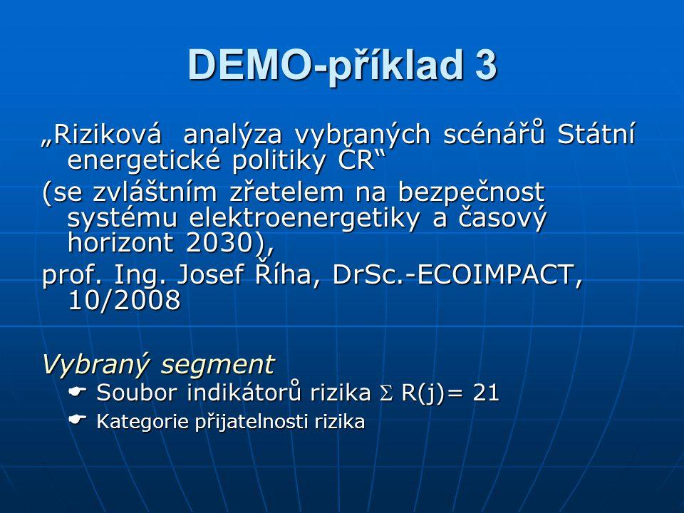 """DEMO-příklad 3 """"Riziková analýza vybraných scénářů Státní energetické politiky ČR"""" (se zvláštním zřetelem na bezpečnost systému elektroenergetiky a ča"""