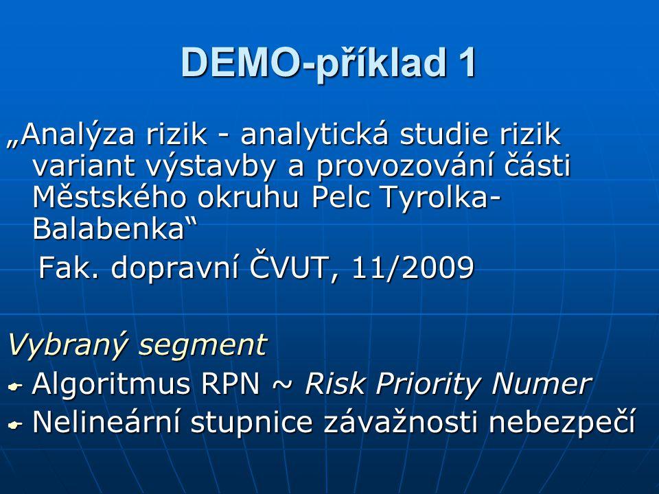 """DEMO-příklad 1 """"Analýza rizik - analytická studie rizik variant výstavby a provozování části Městského okruhu Pelc Tyrolka- Balabenka"""" Fak. dopravní Č"""