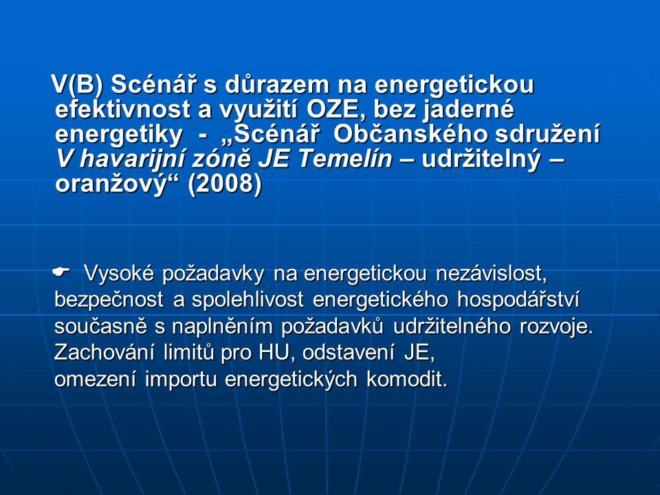 """V(B) Scénář s důrazem na energetickou efektivnost a využití OZE, bez jaderné energetiky - """"Scénář Občanského sdružení V havarijní zóně JE Temelín – ud"""