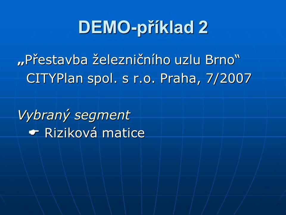 """DEMO-příklad 2 """"Přestavba železničního uzlu Brno"""" CITYPlan spol. s r.o. Praha, 7/2007 CITYPlan spol. s r.o. Praha, 7/2007 Vybraný segment  Riziková m"""