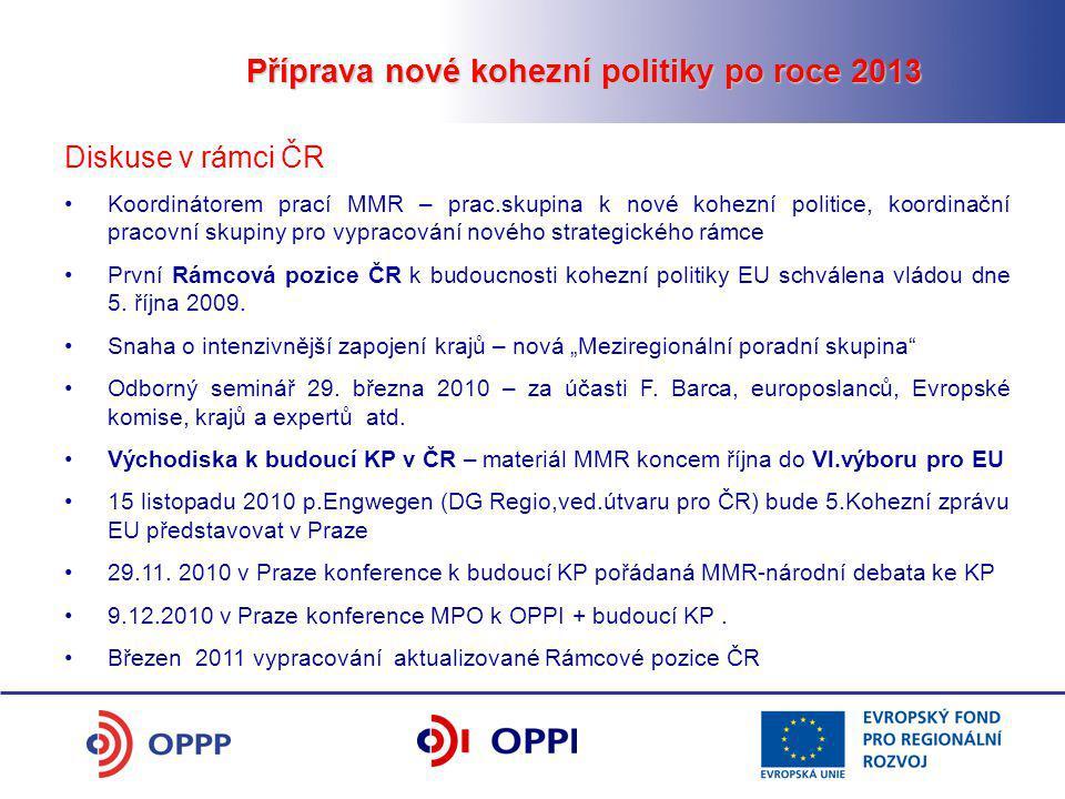 Příprava nové kohezní politiky po roce 2013 Diskuse v rámci ČR Koordinátorem prací MMR – prac.skupina k nové kohezní politice, koordinační pracovní skupiny pro vypracování nového strategického rámce První Rámcová pozice ČR k budoucnosti kohezní politiky EU schválena vládou dne 5.