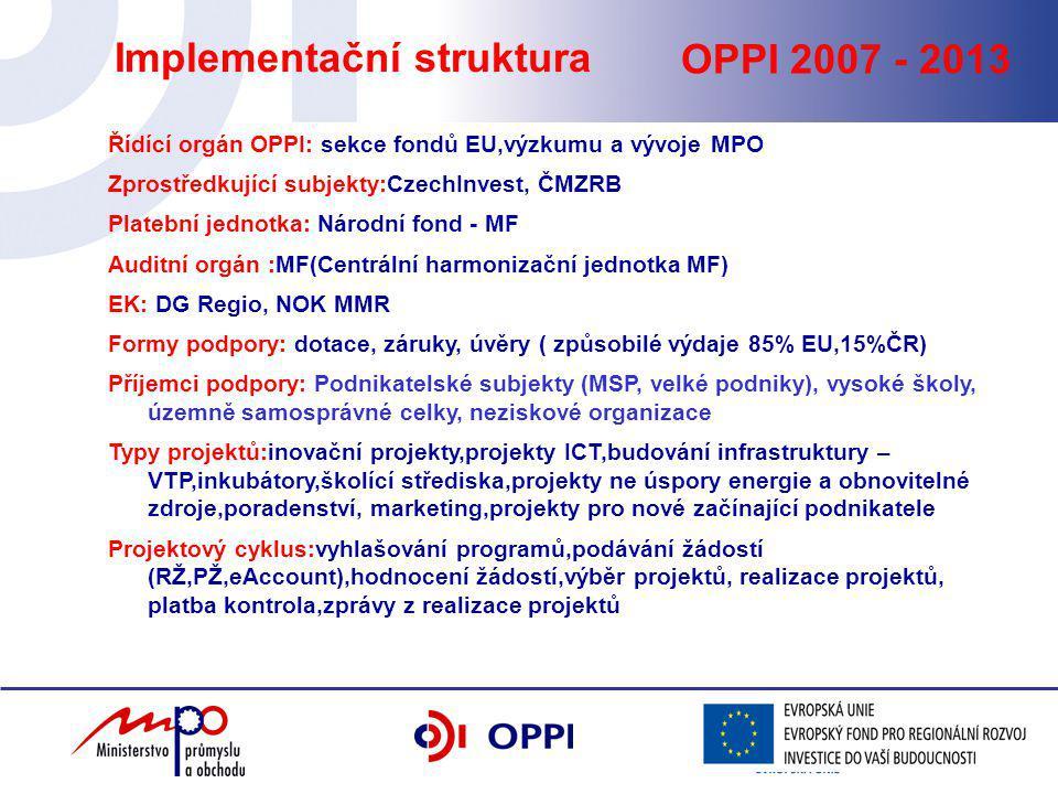 OPPI 2007 - 2013 Implementační struktura Řídící orgán OPPI: sekce fondů EU,výzkumu a vývoje MPO Zprostředkující subjekty:CzechInvest, ČMZRB Platební jednotka: Národní fond - MF Auditní orgán :MF(Centrální harmonizační jednotka MF) EK: DG Regio, NOK MMR Formy podpory: dotace, záruky, úvěry ( způsobilé výdaje 85% EU,15%ČR) Příjemci podpory: Podnikatelské subjekty (MSP, velké podniky), vysoké školy, územně samosprávné celky, neziskové organizace Typy projektů:inovační projekty,projekty ICT,budování infrastruktury – VTP,inkubátory,školící střediska,projekty ne úspory energie a obnovitelné zdroje,poradenství, marketing,projekty pro nové začínající podnikatele Projektový cyklus:vyhlašování programů,podávání žádostí (RŽ,PŽ,eAccount),hodnocení žádostí,výběr projektů, realizace projektů, platba kontrola,zprávy z realizace projektů