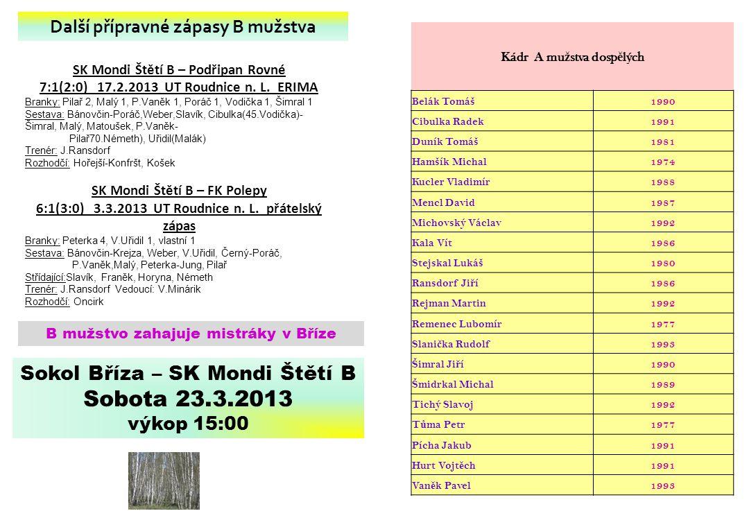 SK Mondi Štětí B – Podřipan Rovné 7:1(2:0) 17.2.2013 UT Roudnice n. L. ERIMA Branky: Pilař 2, Malý 1, P.Vaněk 1, Poráč 1, Vodička 1, Šimral 1 Sestava: