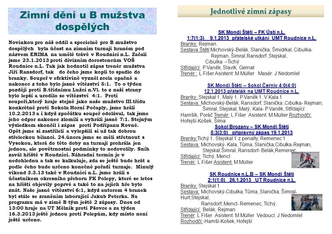 Jednotlivé zimní zápasy SK Mondi Štětí – FK Ústí n.L. 1:7(1:3) 9.1.2013 přátelské utkání UMT Roudnice n.L. Branky: Rejman. Sestava Štětí:Michovský-Bel