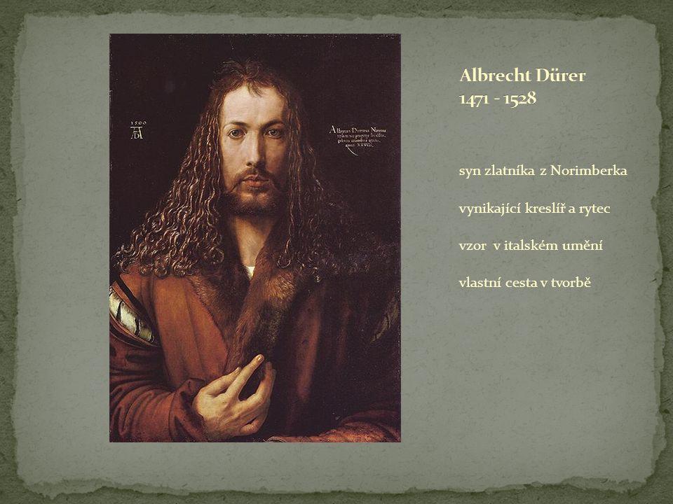 syn zlatníka z Norimberka vynikající kreslíř a rytec vzor v italském umění vlastní cesta v tvorbě