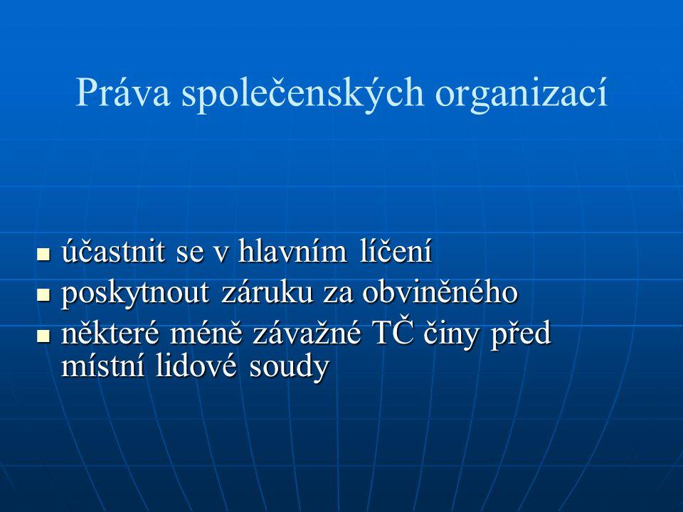 Práva společenských organizací účastnit se v hlavním líčení účastnit se v hlavním líčení poskytnout záruku za obviněného poskytnout záruku za obviněné