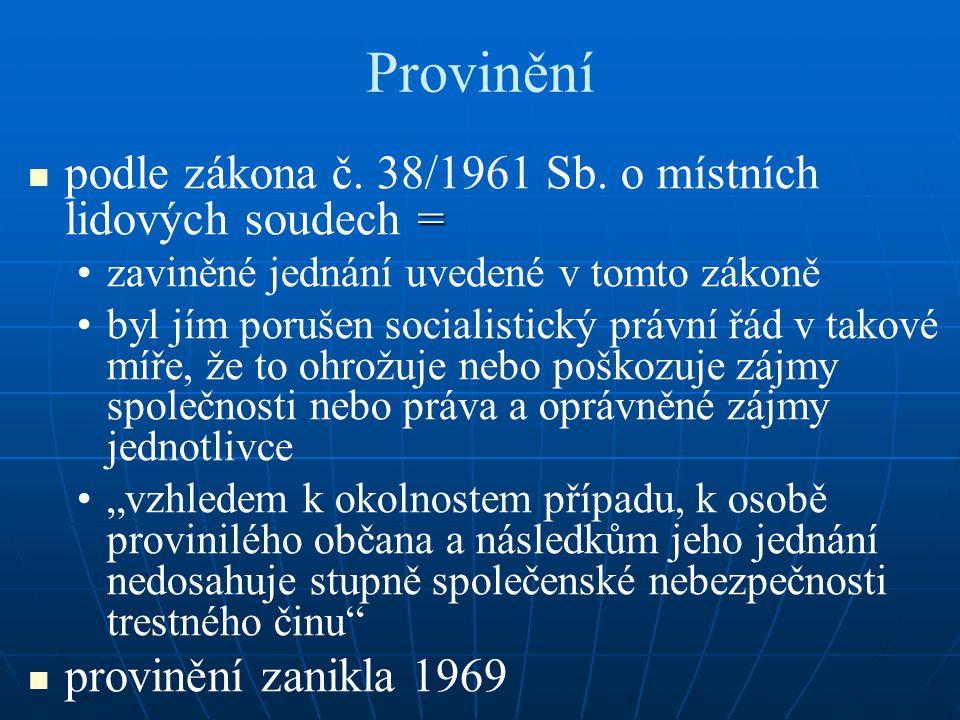 Provinění = podle zákona č. 38/1961 Sb. o místních lidových soudech = zaviněné jednání uvedené v tomto zákoně byl jím porušen socialistický právní řád