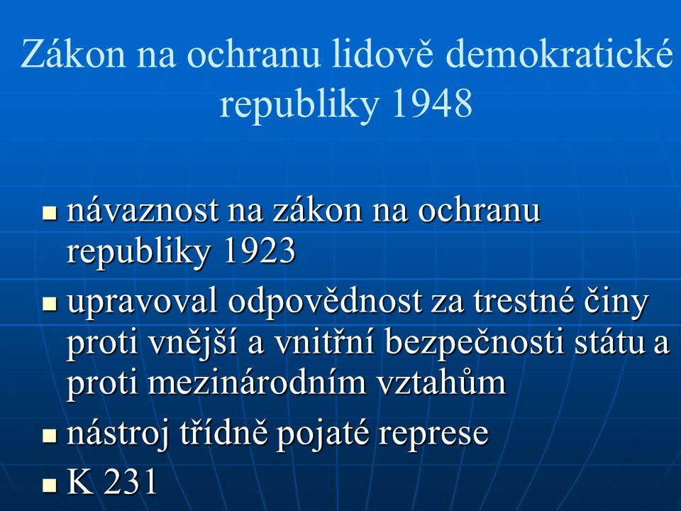 Zákon na ochranu lidově demokratické republiky 1948 návaznost na zákon na ochranu republiky 1923 návaznost na zákon na ochranu republiky 1923 upravova