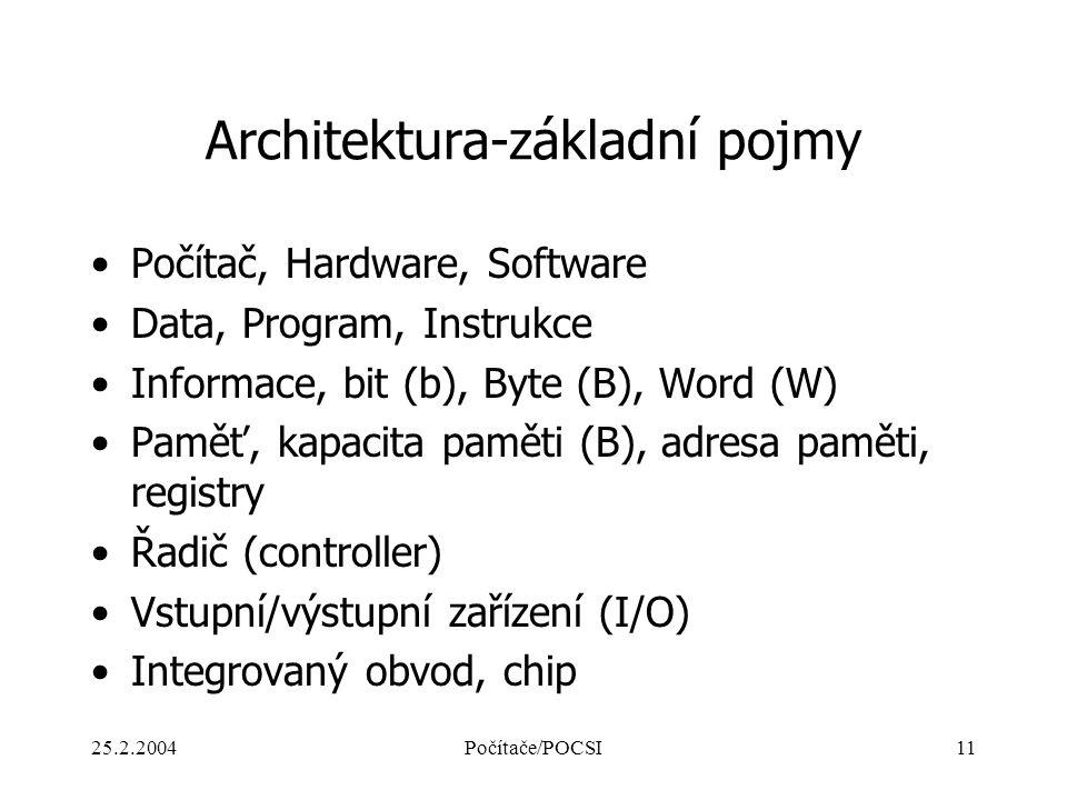 25.2.2004Počítače/POCSI11 Architektura-základní pojmy Počítač, Hardware, Software Data, Program, Instrukce Informace, bit (b), Byte (B), Word (W) Pamě