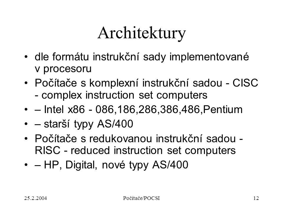 25.2.2004Počítače/POCSI12 Architektury dle formátu instrukční sady implementované v procesoru Počítače s komplexní instrukční sadou - CISC - complex i