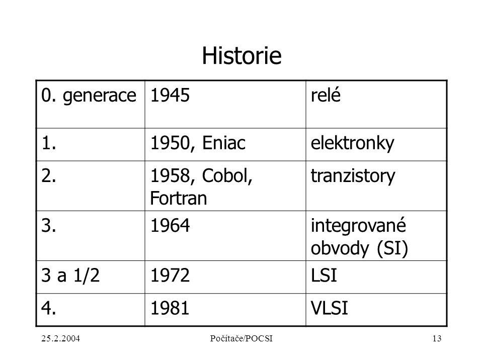 25.2.2004Počítače/POCSI13 Historie 0. generace1945relé 1.1950, Eniacelektronky 2.1958, Cobol, Fortran tranzistory 3.1964integrované obvody (SI) 3 a 1/