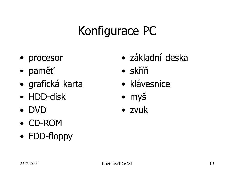 25.2.2004Počítače/POCSI15 Konfigurace PC procesor paměť grafická karta HDD-disk DVD CD-ROM FDD-floppy základní deska skříň klávesnice myš zvuk